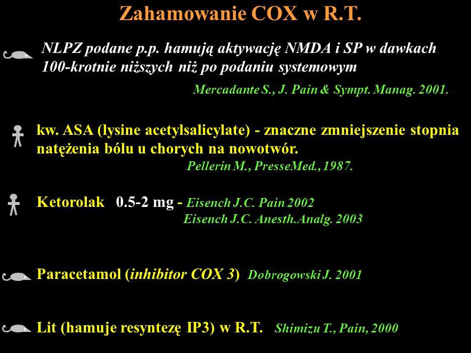 Zahamowanie COX w R.T. kw. ASA (lysine acetylsalicylate) - znaczne zmniejszenie stopnia. natężenia bólu u chorych na nowotwór.