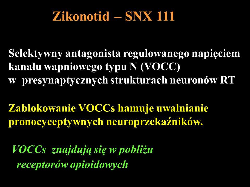 Zikonotid – SNX 111Selektywny antagonista regulowanego napięciem. kanału wapniowego typu N (VOCC) w presynaptycznych strukturach neuronów RT.