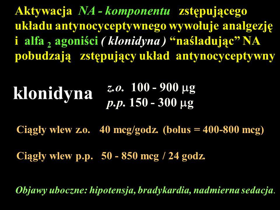 Aktywacja NA - komponentu zstępującego układu antynocyceptywnego wywołuje analgezję
