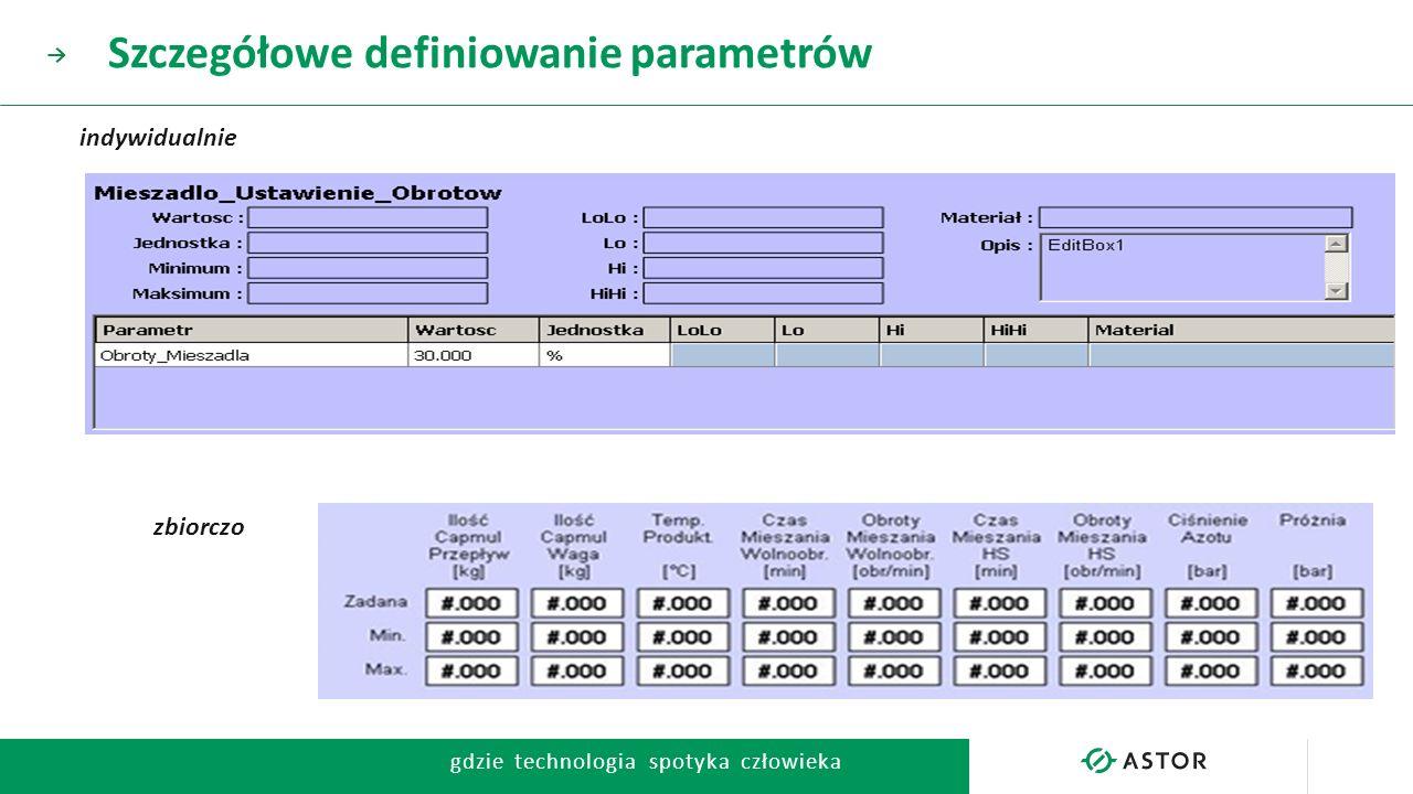 Szczegółowe definiowanie parametrów
