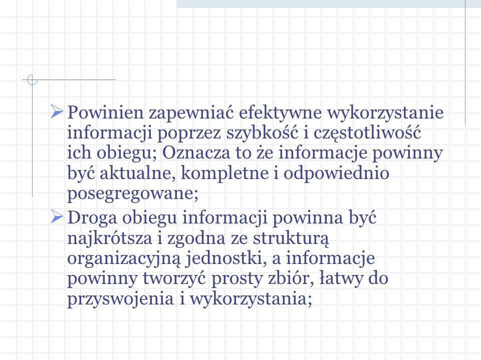 Powinien zapewniać efektywne wykorzystanie informacji poprzez szybkość i częstotliwość ich obiegu; Oznacza to że informacje powinny być aktualne, kompletne i odpowiednio posegregowane;