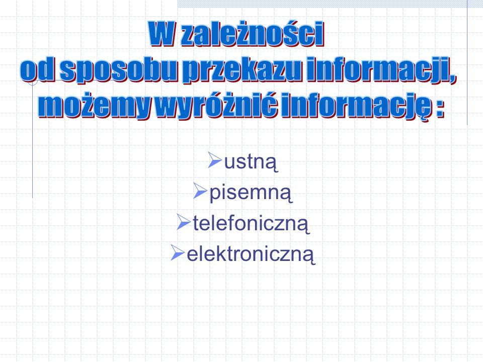 od sposobu przekazu informacji, możemy wyróżnić informację :