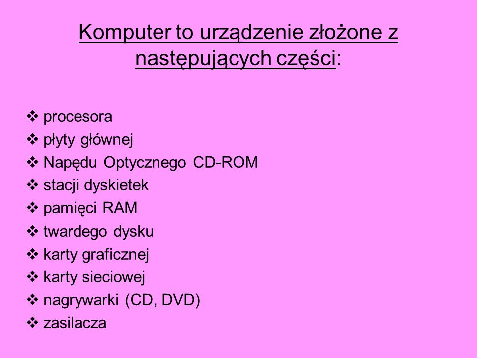 Komputer to urządzenie złożone z następujących części: