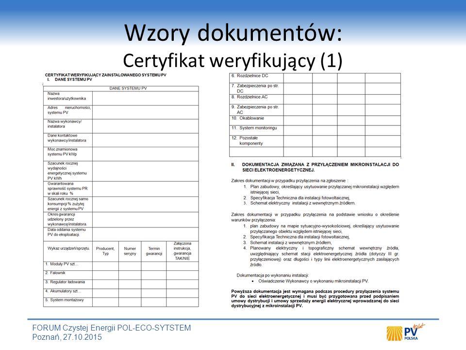 Wzory dokumentów: Certyfikat weryfikujący (2)