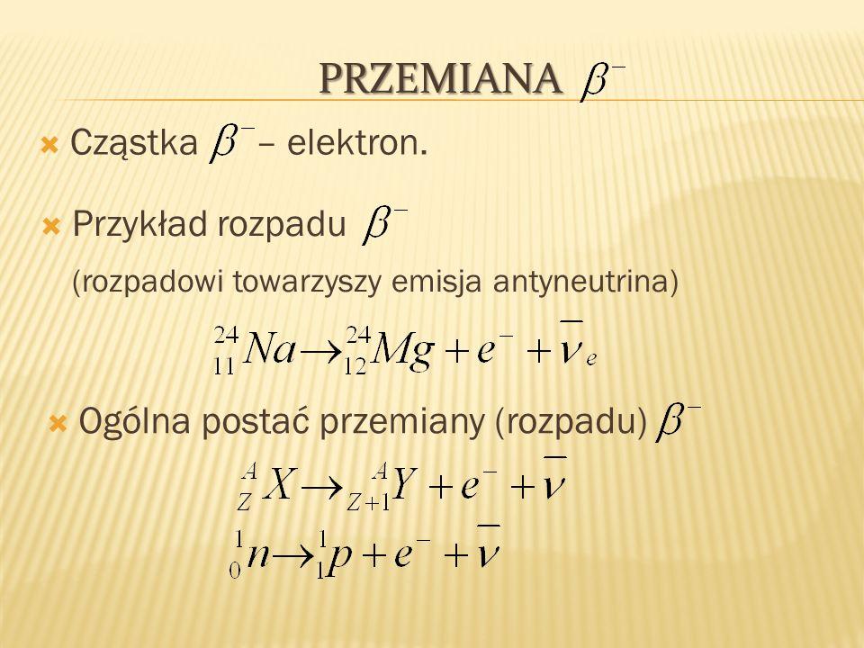 Przemiana Cząstka – elektron. Przykład rozpadu