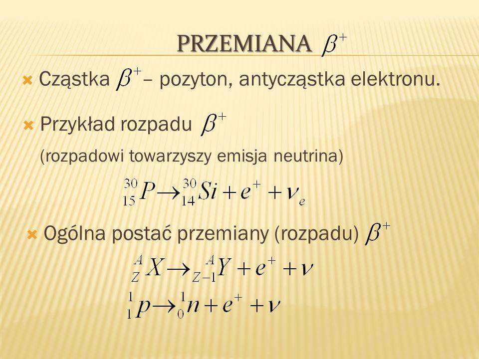 Przemiana Cząstka – pozyton, antycząstka elektronu. Przykład rozpadu