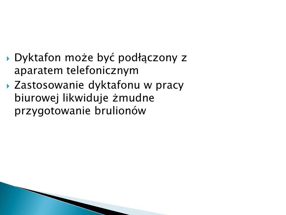 Dyktafon może być podłączony z aparatem telefonicznym