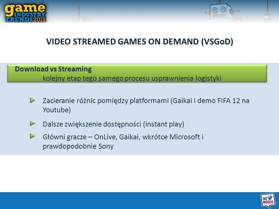VIDEO STREAMED GAMES ON DEMAND (VSGoD)