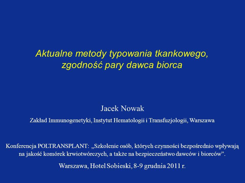 Aktualne metody typowania tkankowego, zgodność pary dawca biorca