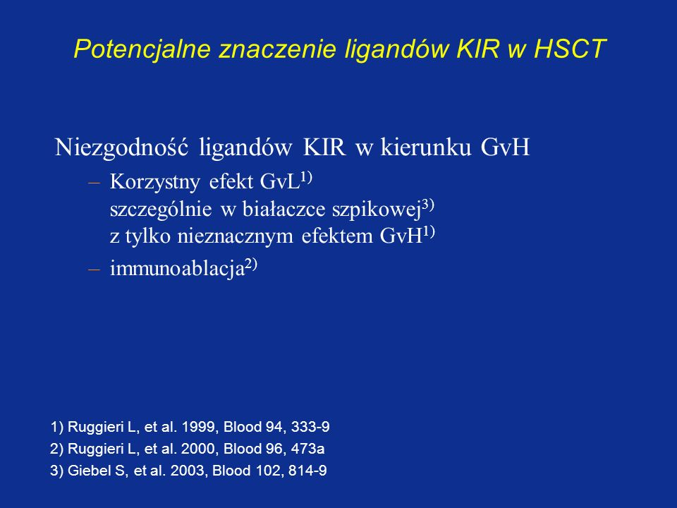 Potencjalne znaczenie ligandów KIR w HSCT