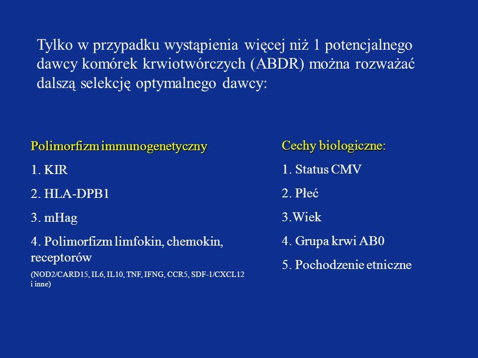 Tylko w przypadku wystąpienia więcej niż 1 potencjalnego dawcy komórek krwiotwórczych (ABDR) można rozważać dalszą selekcję optymalnego dawcy: