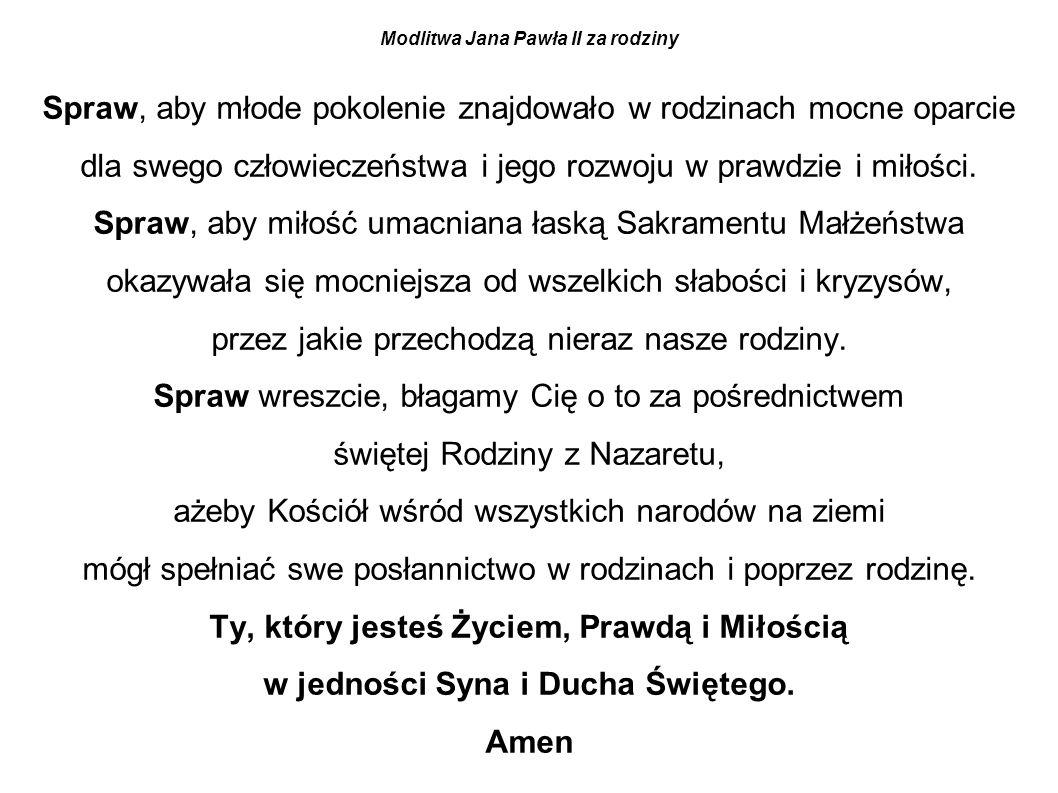 Modlitwa Jana Pawła II za rodziny