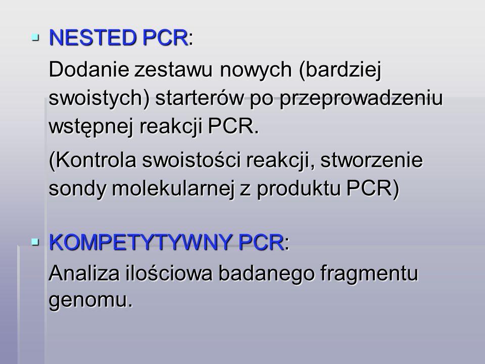NESTED PCR: Dodanie zestawu nowych (bardziej swoistych) starterów po przeprowadzeniu wstępnej reakcji PCR.