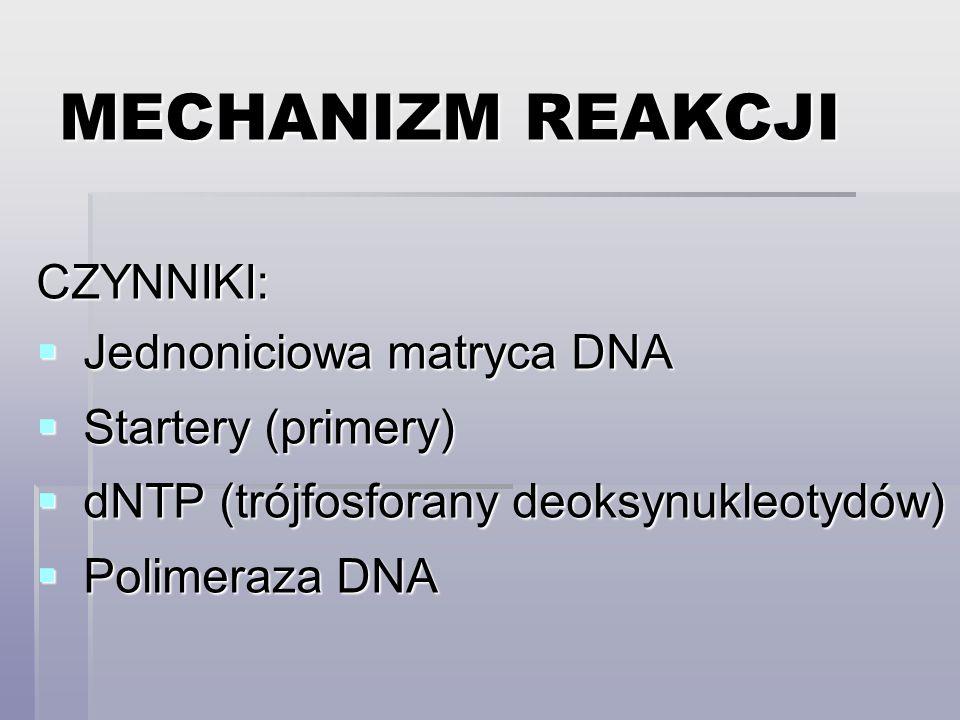 MECHANIZM REAKCJI CZYNNIKI: Jednoniciowa matryca DNA