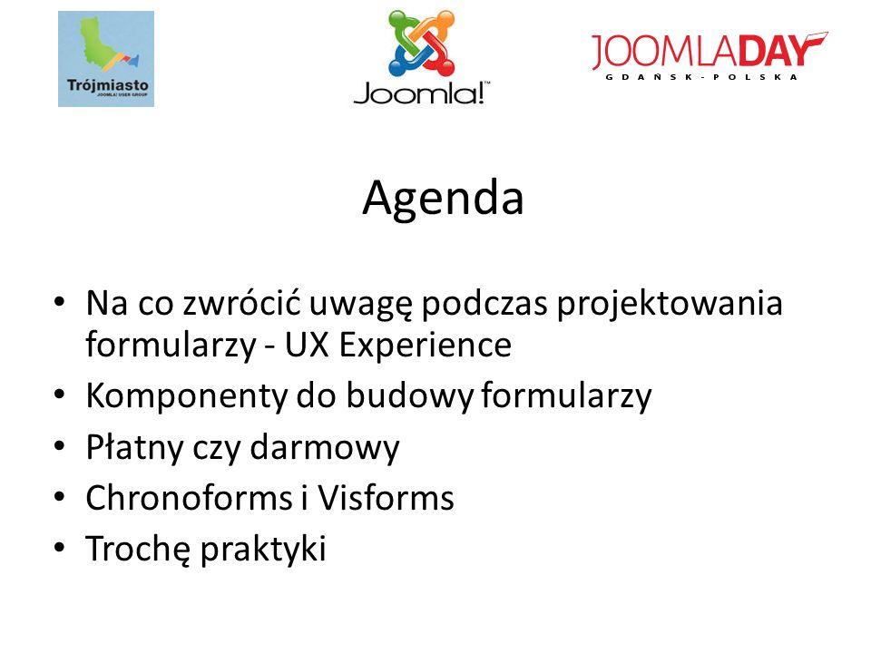 Agenda Na co zwrócić uwagę podczas projektowania formularzy - UX Experience. Komponenty do budowy formularzy.