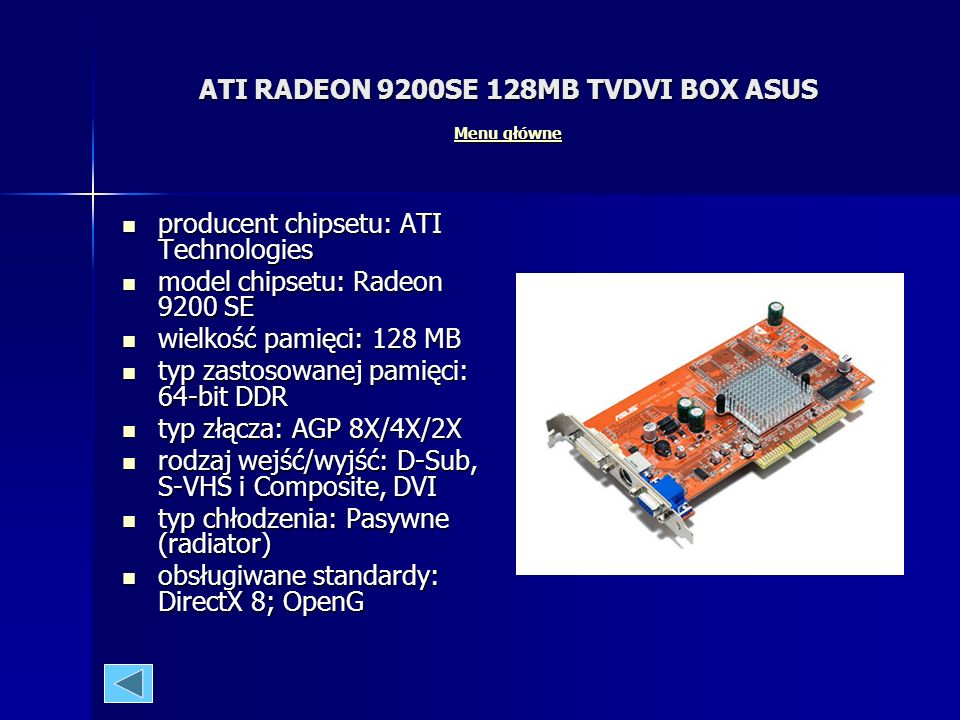 ATI RADEON 9200SE 128MB TVDVI BOX ASUS Menu główne
