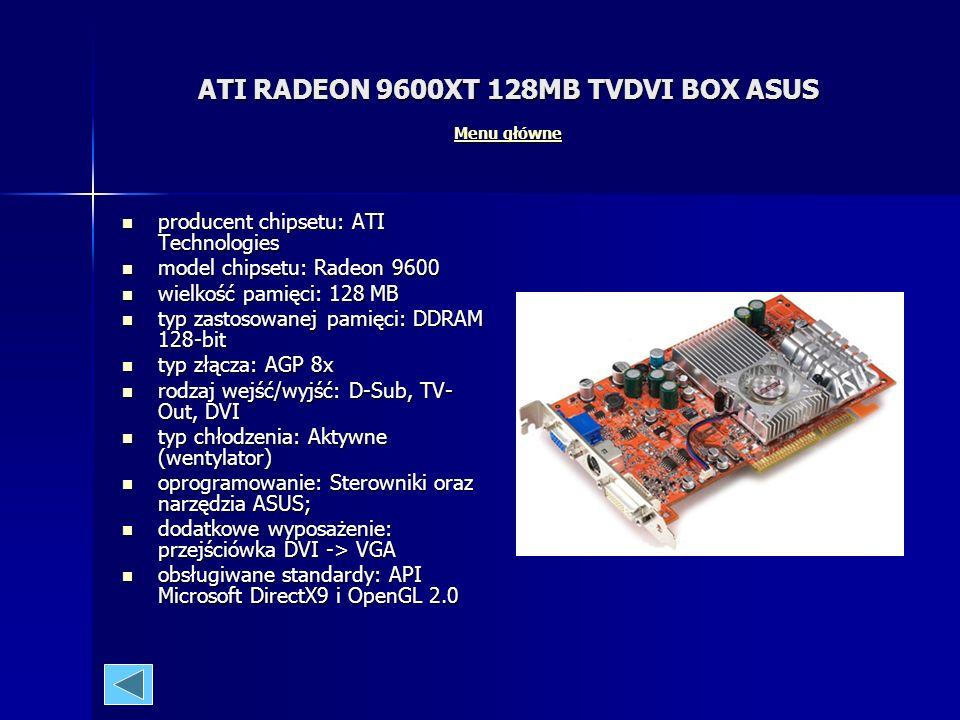 ATI RADEON 9600XT 128MB TVDVI BOX ASUS Menu główne