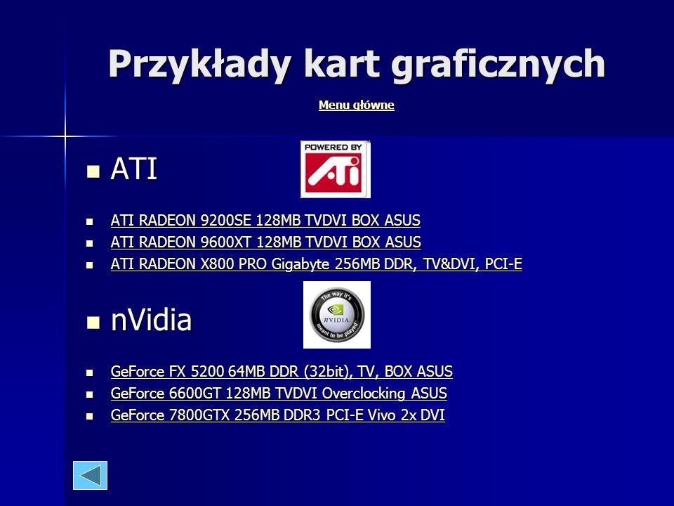 Przykłady kart graficznych Menu główne