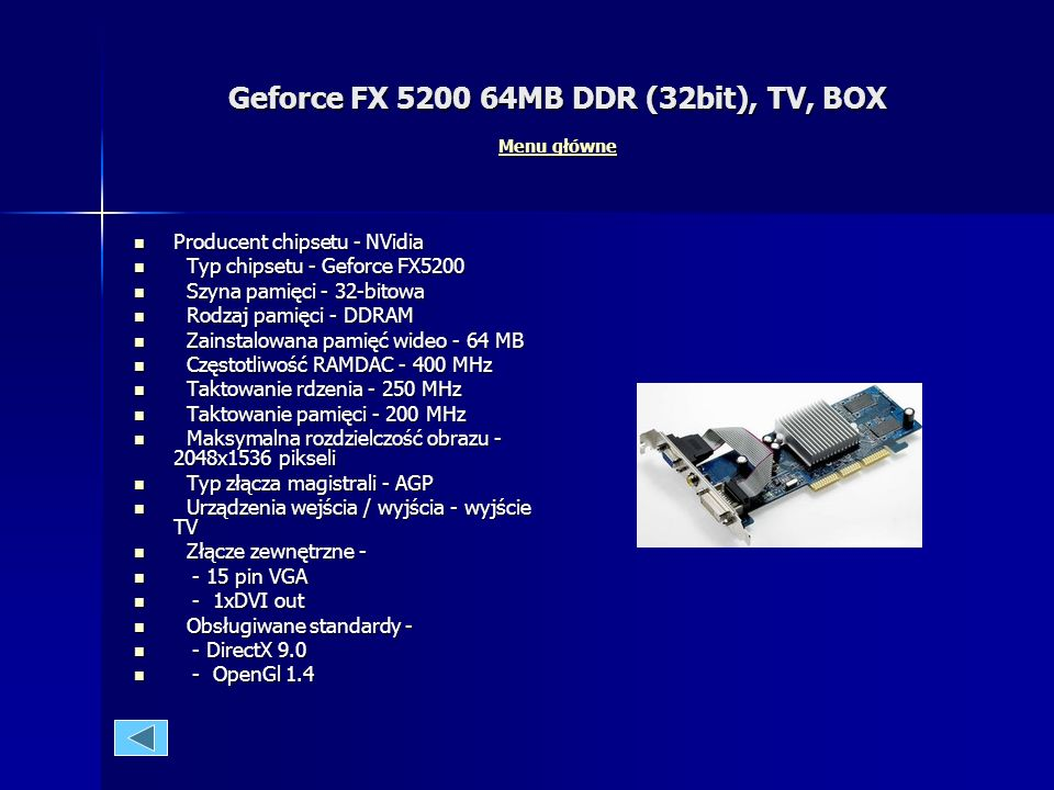 Geforce FX 5200 64MB DDR (32bit), TV, BOX Menu główne