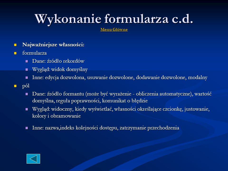 Wykonanie formularza c.d. Menu Główne