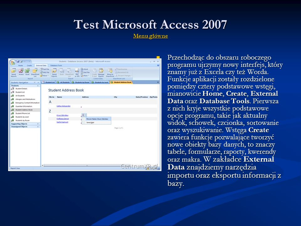 Test Microsoft Access 2007 Menu główne