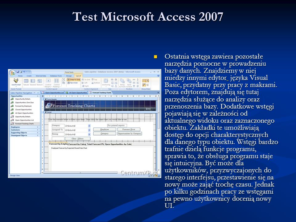 Test Microsoft Access 2007