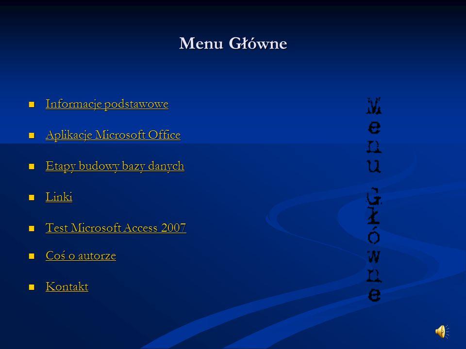 Menu Główne Informacje podstawowe Aplikacje Microsoft Office