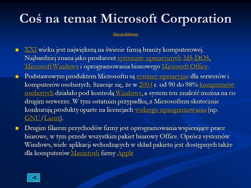 Coś na temat Microsoft Corporation Menu Główne