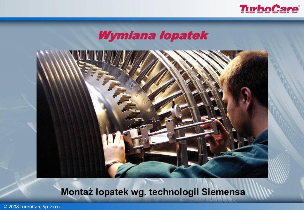Montaż łopatek wg. technologii Siemensa