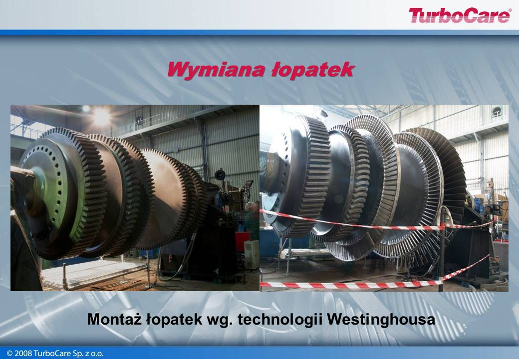 Montaż łopatek wg. technologii Westinghousa