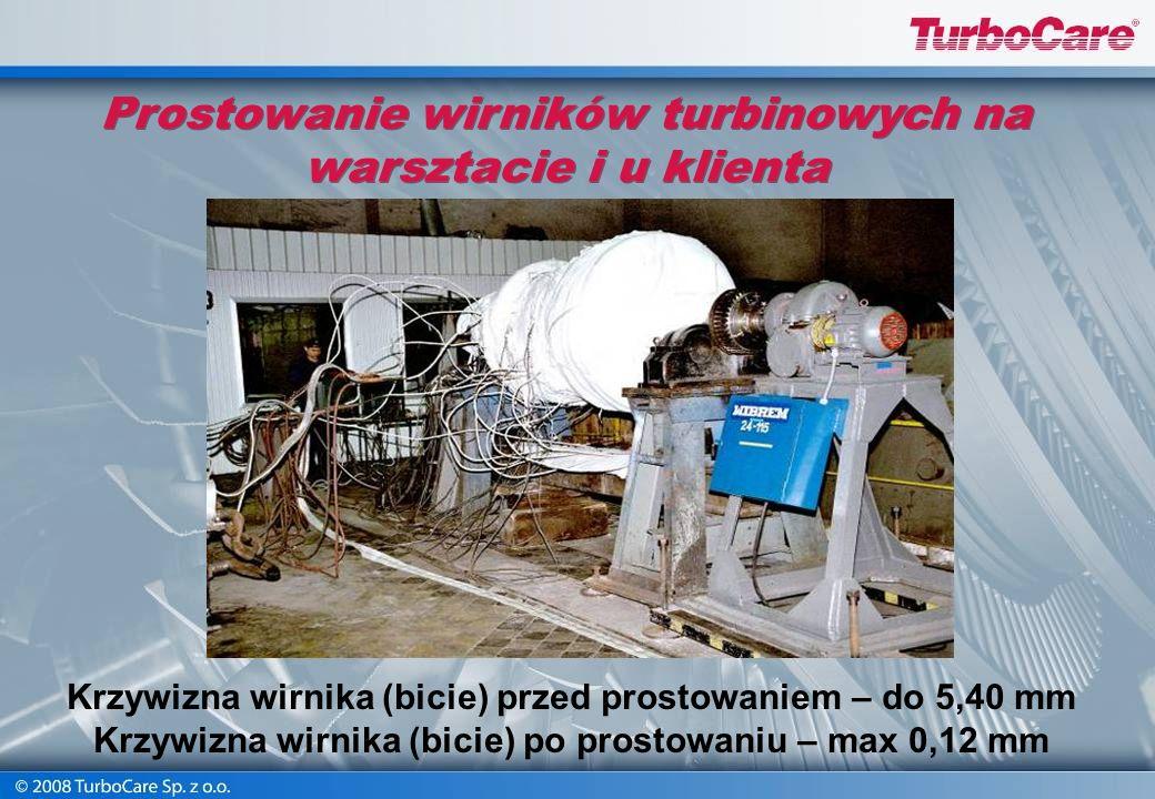Prostowanie wirników turbinowych na warsztacie i u klienta