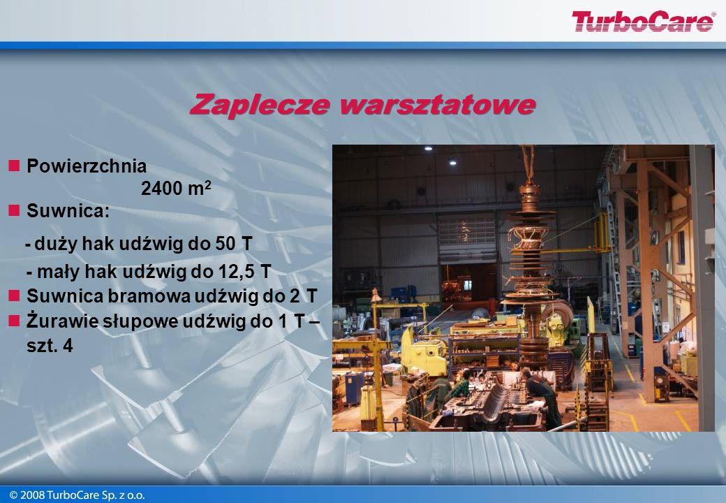 Zaplecze warsztatowe Powierzchnia 2400 m2 Suwnica: