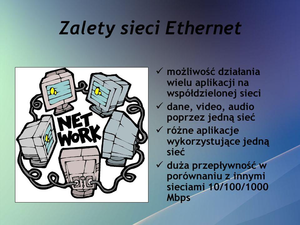 Zalety sieci Ethernet możliwość działania wielu aplikacji na współdzielonej sieci. dane, video, audio poprzez jedną sieć.