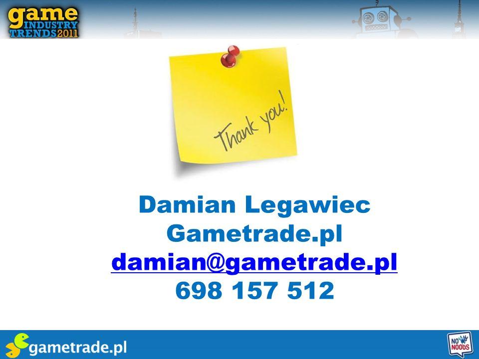 Damian Legawiec Gametrade.pl damian@gametrade.pl 698 157 512