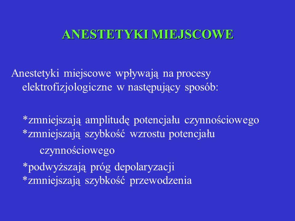 ANESTETYKI MIEJSCOWE Anestetyki miejscowe wpływają na procesy elektrofizjologiczne w następujący sposób: