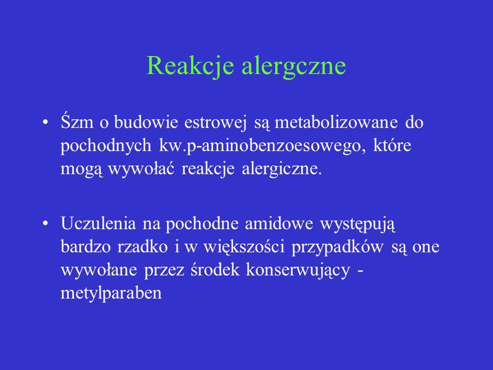 Reakcje alergczneŚzm o budowie estrowej są metabolizowane do pochodnych kw.p-aminobenzoesowego, które mogą wywołać reakcje alergiczne.