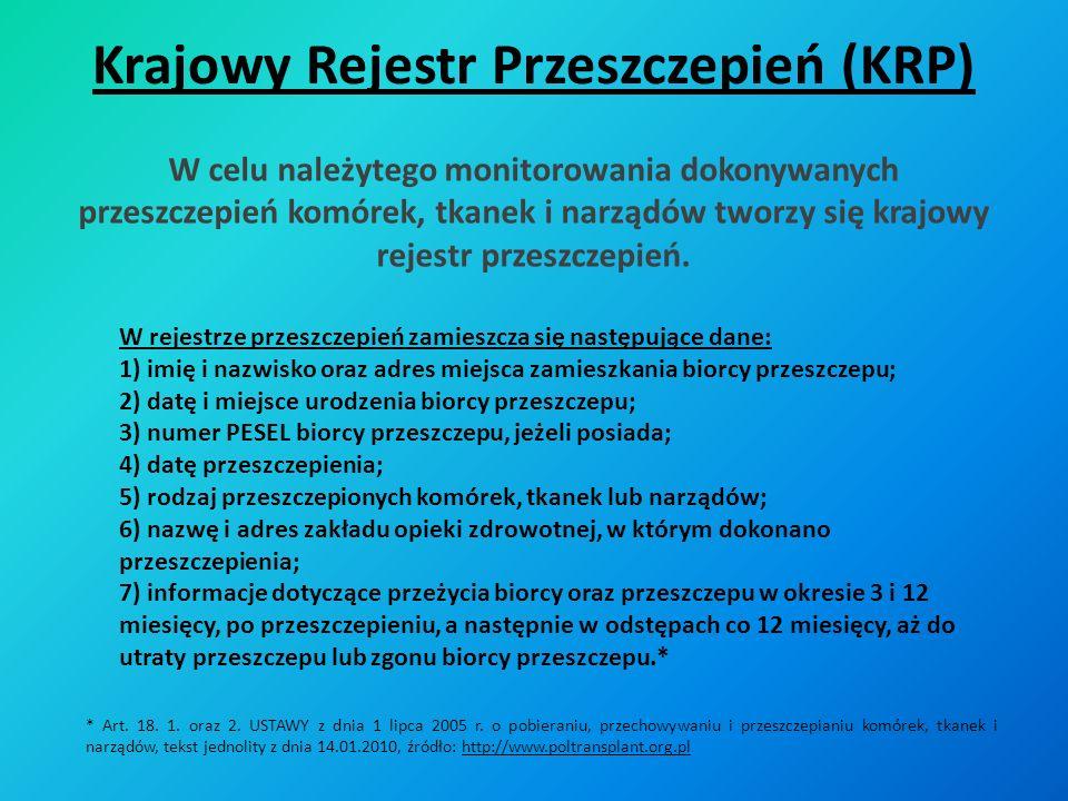 Krajowy Rejestr Przeszczepień (KRP)