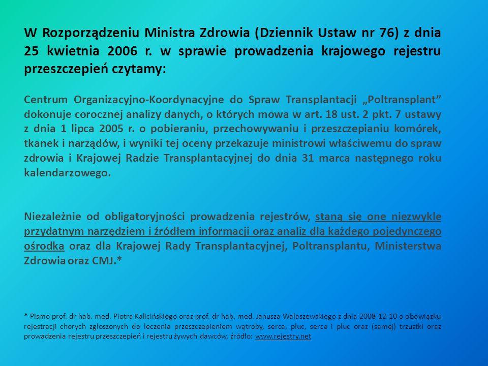 W Rozporządzeniu Ministra Zdrowia (Dziennik Ustaw nr 76) z dnia 25 kwietnia 2006 r. w sprawie prowadzenia krajowego rejestru przeszczepień czytamy: