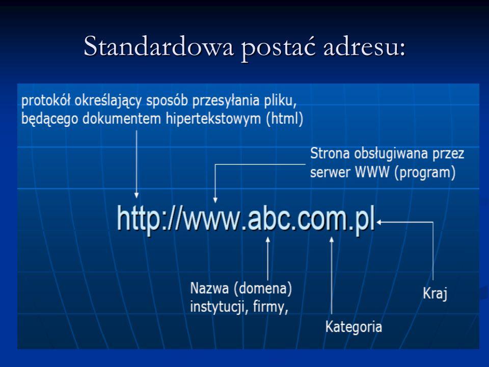 Standardowa postać adresu: