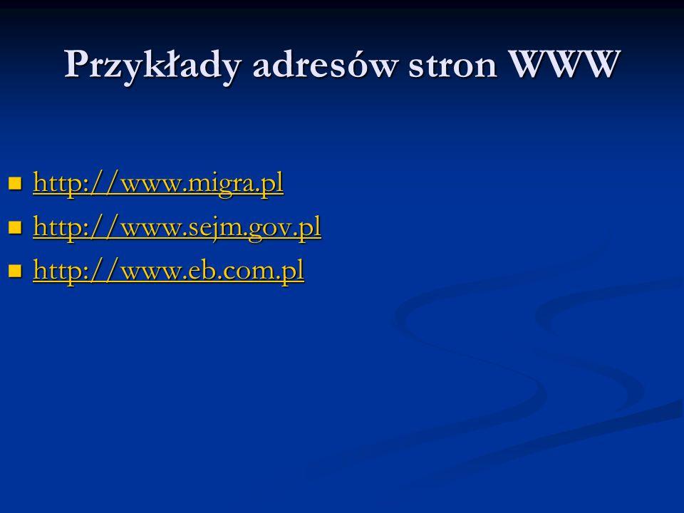 Przykłady adresów stron WWW