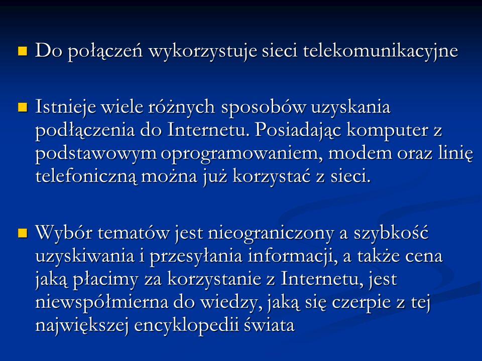 Do połączeń wykorzystuje sieci telekomunikacyjne