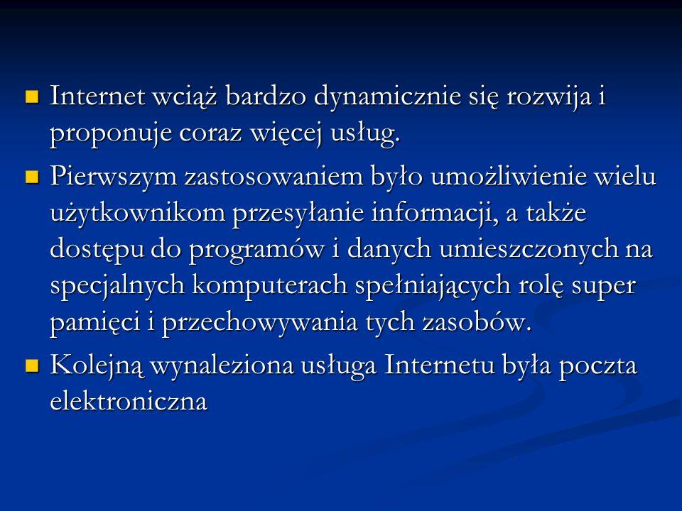 Internet wciąż bardzo dynamicznie się rozwija i proponuje coraz więcej usług.