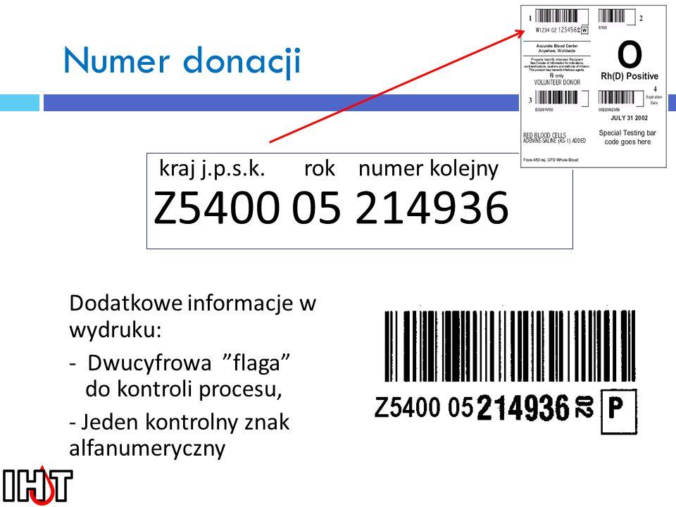 Numer donacji kraj j.p.s.k. rok numer kolejny Z5400 05 214936