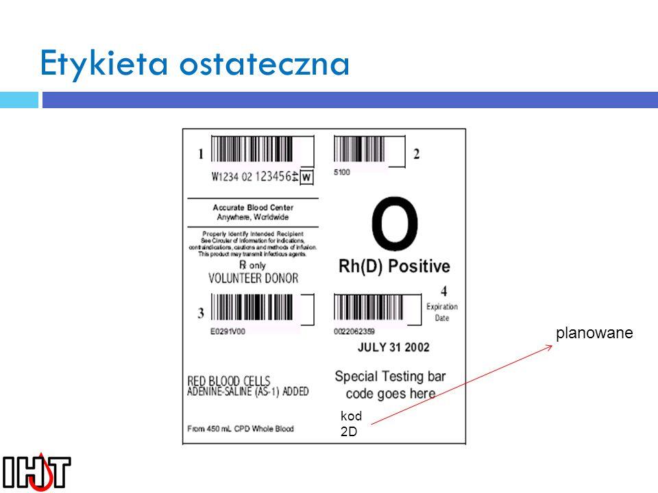 Etykieta ostateczna planowane kod 2D