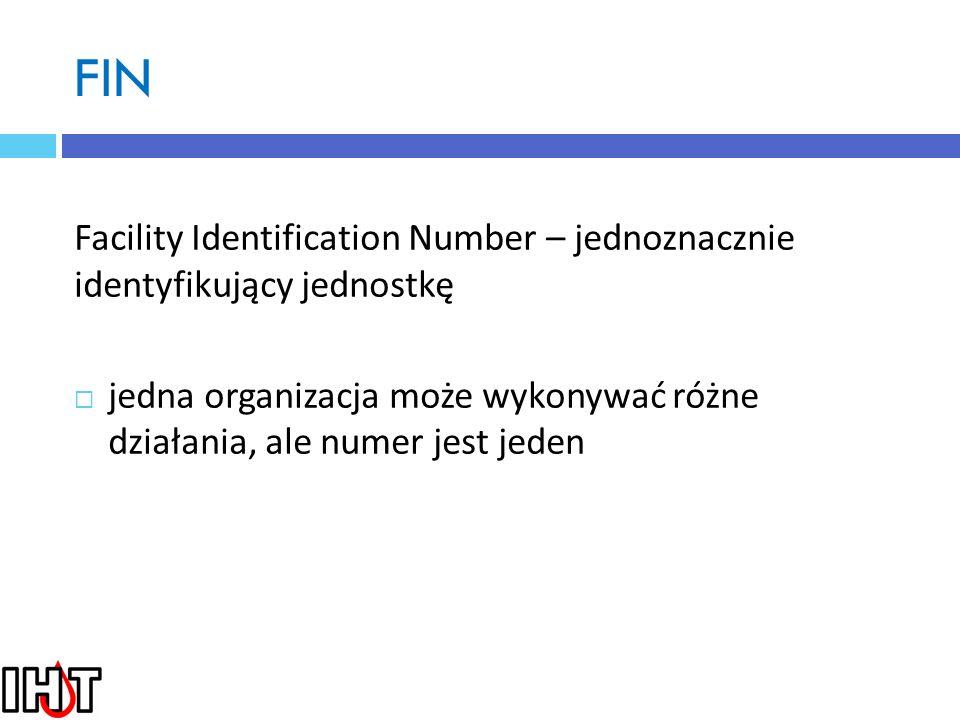 FIN Facility Identification Number – jednoznacznie identyfikujący jednostkę.