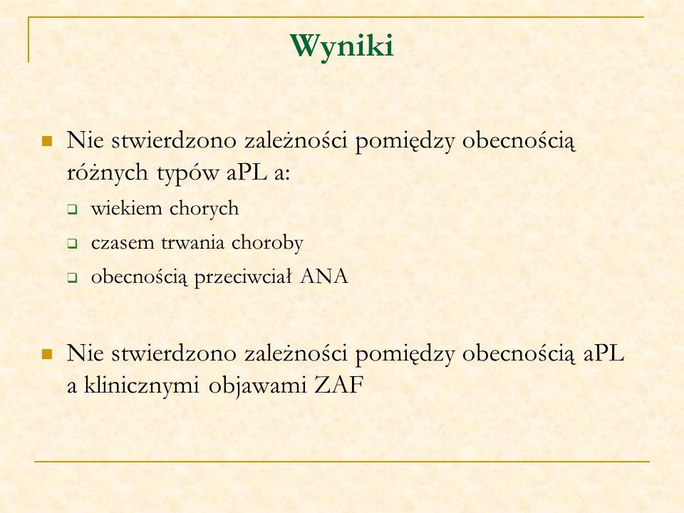 Wyniki Nie stwierdzono zależności pomiędzy obecnością różnych typów aPL a: wiekiem chorych. czasem trwania choroby.