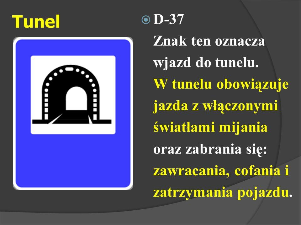 D-37 Znak ten oznacza wjazd do tunelu