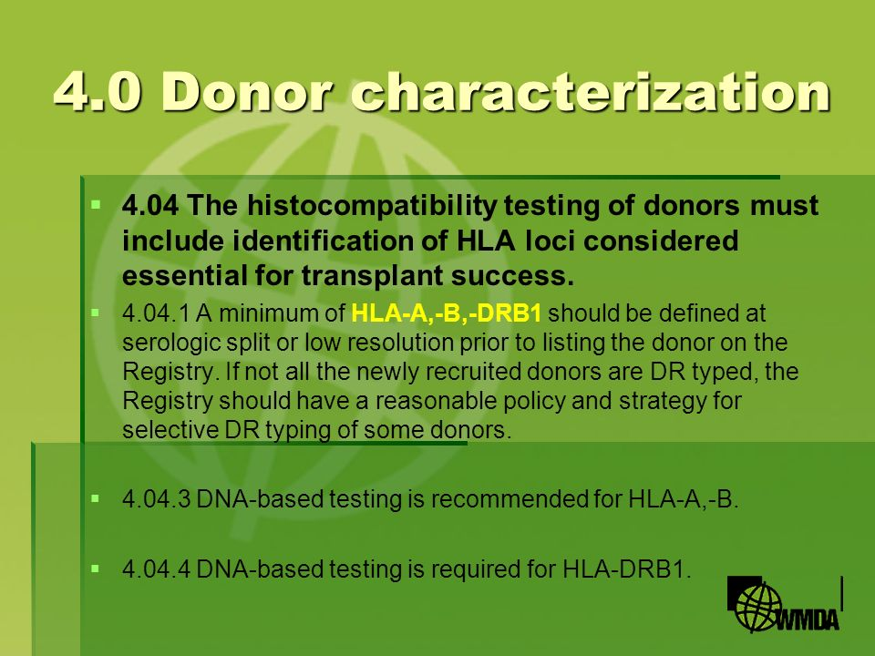 4.0 Donor characterization