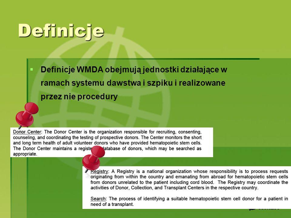 DefinicjeDefinicje WMDA obejmują jednostki działające w ramach systemu dawstwa i szpiku i realizowane przez nie procedury.