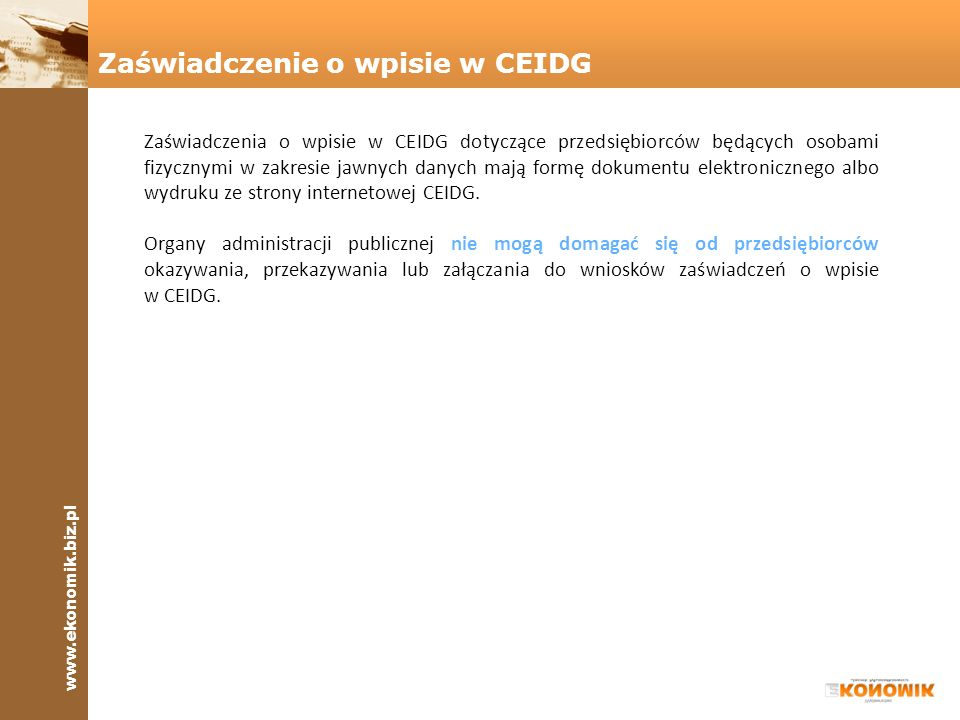 Zaświadczenie o wpisie w CEIDG